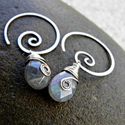 SOLD O MEANDER MINI Labradorite Tear Drop Oxidized Sterling Silver Hoop Dangle Earring