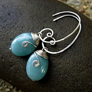 MEANDER Amazonite Oval and Sterling Silver Earring