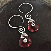 MEANDER Earring Drop 13x13mm Red Glass Briolette and Sterling Swirl
