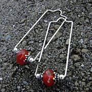 LEAP Carnelian n Argentium Sterling Rectangle Hoop Earring