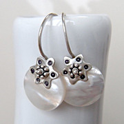 Mother of Pearl Drop and Argentium Silver Hoop Earring