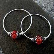 LEAP Orange Red CZ Argentium Sterling Silver Hoop Earring