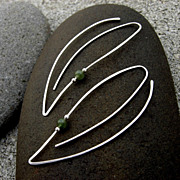 SOLD SPRING LEAF Green Stone Bead n Sterling Silver Earring