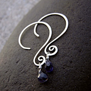 QUESTION MARK Faceted Lolite Briolette Drop n Sterling silver Hoop Earring