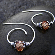 TEA BERRY SWIRL Cubic Zirconia Argentium Silver Post Hoop Earring Black Friday to Cyber Monday