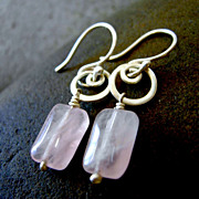 BLUSH SWIRL Rose Quartz Drop And Argentium Silver Swirl Hoop Dangle EARRING