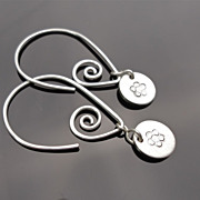 V MEANDER FLORET Sterling Silver Drop Hoop Dangle Earring