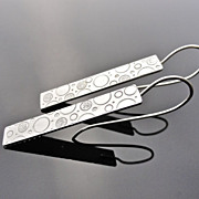CHIMERA Sterling Silver Slim Rectangle Hand Stamped Circle Bubble Daydream Earring