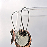 Mixed Metal Saucer Disc Copper and Sterling Silver Dangle Earring
