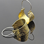 Floral Embossed Brass and Sterling Silver Basket Hoop Earring