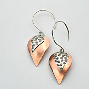 ASCENDING RAIN Sterling Silver and Copper Mixed Metal Dangle Earring