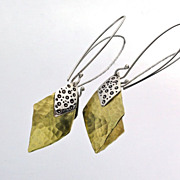 LEOPARD LADY Sterling Silver and Brass Mixed Metal Double Diamond Dangle Earring