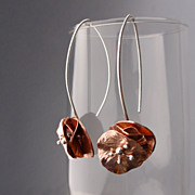 PERFECT FLOWER Copper and Sterling Silver Mixed Metal Dangle Earring