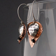 PETAL SHOWER Sterling Silver and Copper Mixed Metal Concave and Convex Swarovski Crystal Dangl