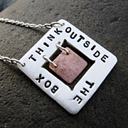 THINK OUTSIDE THE BOX Sterling Silver and Copper Pendant Necklace
