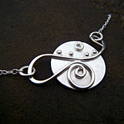 LUNA LARK Argentium Sterling Silver Pendant Necklace Eco-Friendly