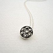 Tiny Flower Sterling Silver Granule Pendant Necklace