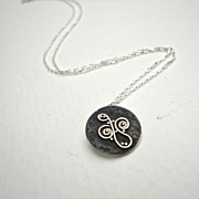 Sterling Silver Swirl Granule Pendant Necklace