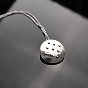 NINE DOT Sterling Silver Disc And Granule Slightly Domed Pendant Necklace