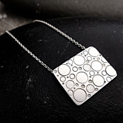 CHIMERA Sterling Silver Rectangle Hand Stamped Circle Bubble Daydream Pendant Necklace