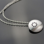 LITTLE MISS SUNSHINE Sterling Silver Drop Pendant Necklace Modern Minimalism