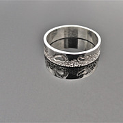 SANDY WALK Sterling Silver 5mm Hand Stamped and Fabricated Band Ring