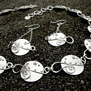 LUNA LARK Argentium Sterling Silver Disk Granule Curl Necklace And Earring Set