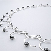 CADENCE Hematite n Argentium Silver Necklace and Earring Set