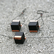 Onyx Cube with Copper Trim Earring n Pendant Set
