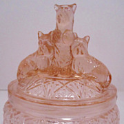 Pink Depression Glass Scottie Dogs Powder Dish
