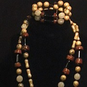 SALE Miriam Haskell Necklace and Bracelet Polished and Semi Precious Stones