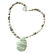 """Peace"" Jade Pendant with matching bead necklace and Keshi Pearls with Earrings"