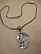 Fine Silver Art Clay Pendant with Cubic Zirconias   SALE!!
