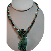 Venetian glass pendant on Kumihimo necklace