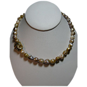 Lumpy, Bumpy Keshi Pearls with gold Vermeil Nugget Bead