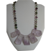 Amethyst Chunky pendants with Fluorite Necklace