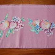 Vintage Feed sack pillowcase, Solid dusty rose Pink, apples appliqued