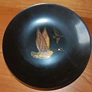 Couroc bowl, Inlaid Canada geese in Flight