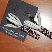 Hand Made, Native American beaded earrings, Pink & Black corncobs