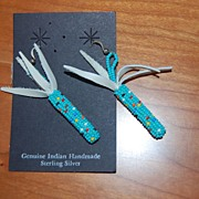 Hand made, Native American beaded earrings, turquoise corncobs