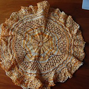 Beautiful Knitted doily, variegated yellow orange Star