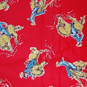 1 3/4 yd Vintage 1950's Juvenile print flannel, Cowboys on broncos, red background