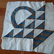 4 Vintage 1850's Quilt blocks, Pretty Pieced baskets