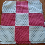 8 Large vintage 1880's Quilt blocks,  Double Pink 9 Patch