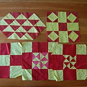 5 Vintage 1880-90's quilt blocks, Red & Yellow Sampler blocks