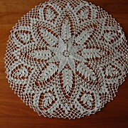 Beautiful Crocheted doily, ecru, Passion flower circular, 16 1/2 in
