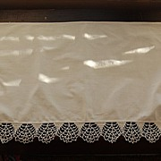 Lovely vintage White linen runner, crocheted edge