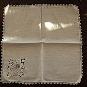 Vintage linen Hankie, cutwork embroidery Decoration