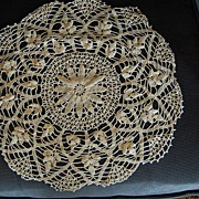 "Beautiful Vintage crocheted ecru Doily,  15"" Passion flower"