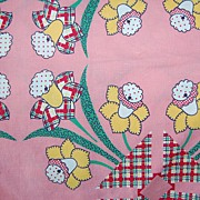 Large piece Vintage Feed sack, pink with Daffodils